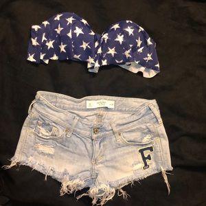 Star print flounce bikini top